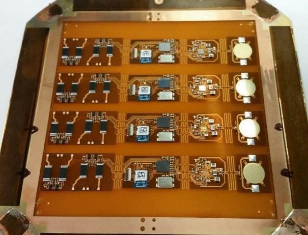 Four wireless EKG sensors ready for final assembly